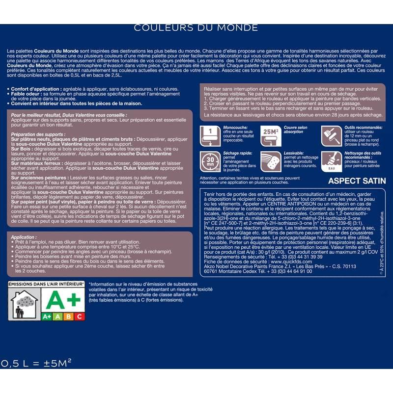 Peinture Couleurs Du Monde Satin Campagne Provençale Clair 0,5L   Dulux  Valentine   5266518