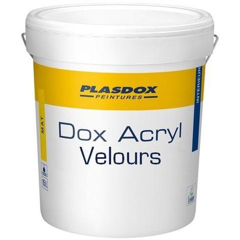 Peinture de finition veloutée PLASDOX Dox Acryl Velours BLANC 15L   Conditionnement: 15 Litres