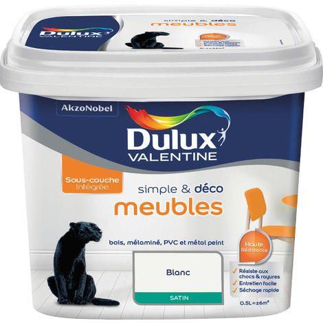 Peinture de rénovation meuble Dulux Valentine - 0,5 l - Blanc Satin - Blanc satiné