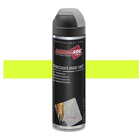 Peinture de traçage 500 ml avec diffuseur à 360 degrés Jaune fluorescent - V403GIALLOF - Ambro-sol - Jaune - Fluo