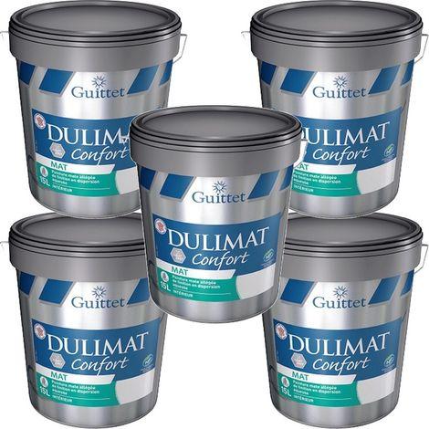 Peinture Dulimat Confort BLANC 15L GUITTET - pack de 5