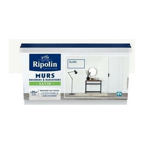 Peinture et décoration murs boiseries & radiateurs satin 2,5L RIPOLIN - plusieurs modèles disponibles