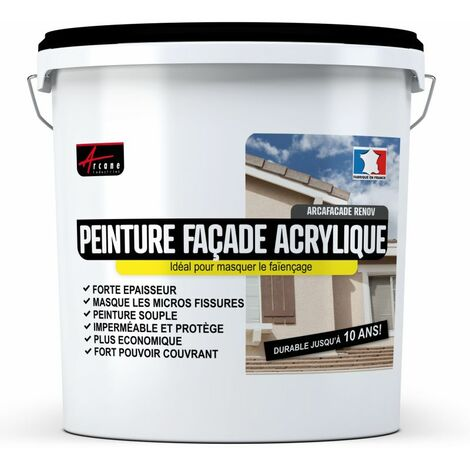 Peinture Façade en Acrylique Hydrofugée - 14 Couleurs - EFFICACE JUSQU A 10 ans - ARCAFACADE RENOV