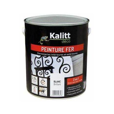 Peinture fer anti-rouille brillant blanc 2.5L - KALITT