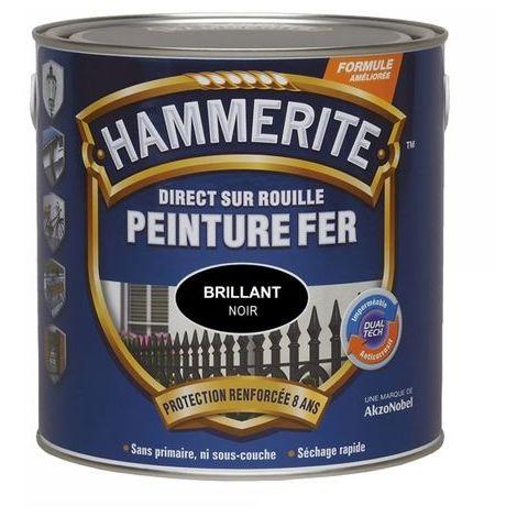 Peinture fer Direct sur Rouille: différentes teintes, mat, satin, brillant, martelé ou forgé HAMMERITE (250 ml blanc cassé brillant) - Pot : 250 mL blanc cassé brillant