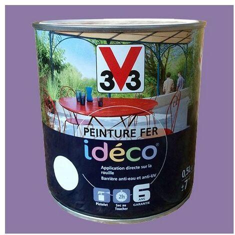 Peinture fer V33 Idéco Violette grisée Satin 0,5 L - Violette grisée