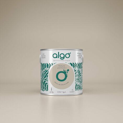 Peinture formulée à partir d'une résine bio-sourcée à 98%, à base d'algues 100% naturelles et renouvelables fabriquée en Bretagne - idéale pour vos murs, plafonds, boiseries et radiateurs peints : Algo Déco Beige Finition Mat 2L (Beige neutre)