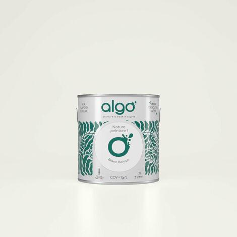 Peinture formulée à partir d'une résine bio-sourcée à 98%, à base d'algues 100% naturelles et renouvelables fabriquée en Bretagne - idéale pour vos murs, plafonds, boiseries et radiateurs peints : Algo Déco Blanche Finition Satin 2L (Blanc béluga du fleuv