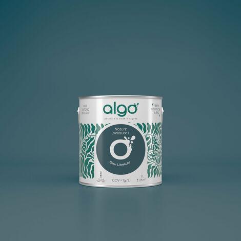 Peinture formulée à partir d'une résine bio-sourcée à 98%, à base d'algues 100% naturelles et renouvelables fabriquée en Bretagne - idéale pour vos murs, plafonds, boiseries et radiateurs peints : Algo Déco Bleue Finition Satin 2L (Bleu libellule de nos r