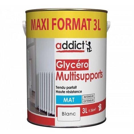 Peinture Glycero Multi Support blanc Mat 3 litres - ADDICT