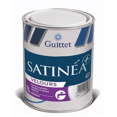 Peinture Guittet Satinea + Velours blanc 1L