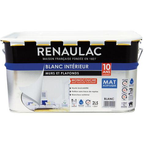 Peinture intérieur Blanc Mat Murs & Plafonds Monocouche Acrylique 2,5L - 25m² - Renaulac