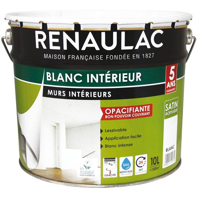 Peinture Intérieur Blanc Satin Murs Plafonds Bicouche Acrylique 10l 100m Renaulac