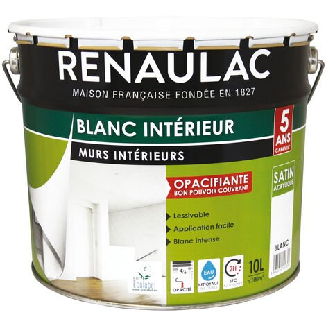Peinture intérieur Blanc Satin Murs & Plafonds Bicouche Acrylique 10L - 100m² - Renaulac - Blanc
