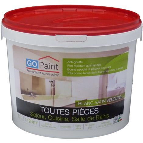 Peinture Interieur Toutes Pièces Blanc Satin Velouté 10l 539102