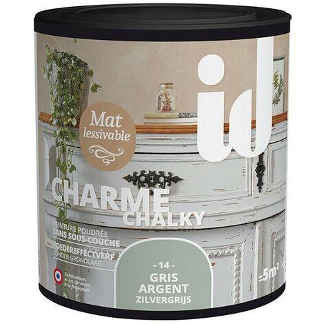 Peinture meubles et boiseries CHARME 500ML GRIS ARGENT - ID Paris