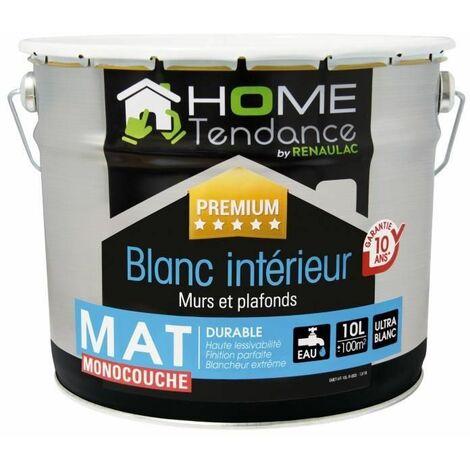 Peinture monocouche murale 10L blanc mat - lessivable - HOME TENDANCE by Renaulac
