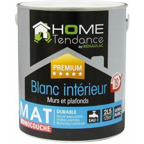 Peinture monocouche murale 2,5L blanc mat - lessivable - HOME TENDANCE by Renaulac