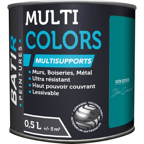 Peinture multi-supports satin soyeux Batir - Bleu canard - 0,5 l