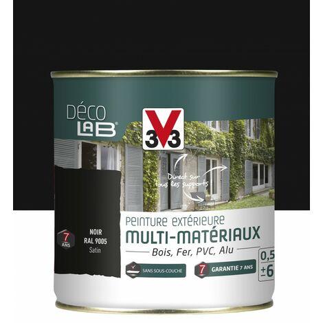 Peinture multimatériau extérieur Décolab® V33 noir satiné 0.5 l