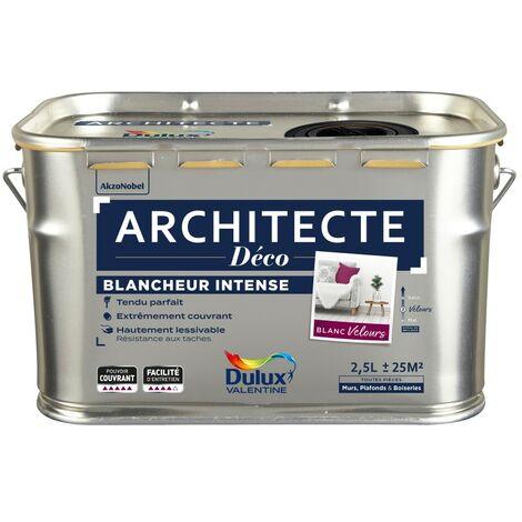 Peinture mur / plafond DULUX VALENTINE Architecte déco blanc velours, 2.5 l