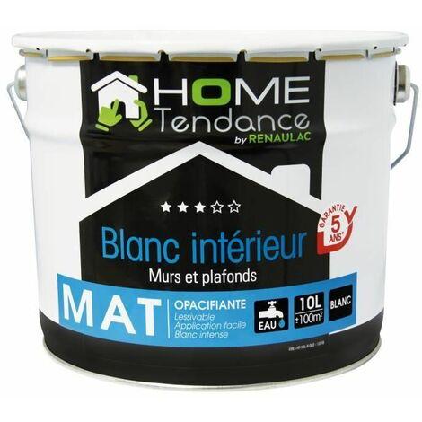 Peinture murale 10L blanc mat - lessivable - HOME TENDANCE by Renaulac