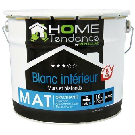 Peinture murale 10L blanc mat lessivable - HOME TENDANCE by Renaulac
