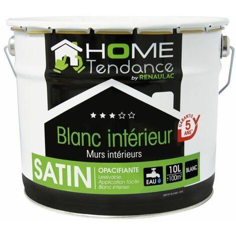 Peinture murale 10L blanc satin - lessivable - HOME TENDANCE by Renaulac