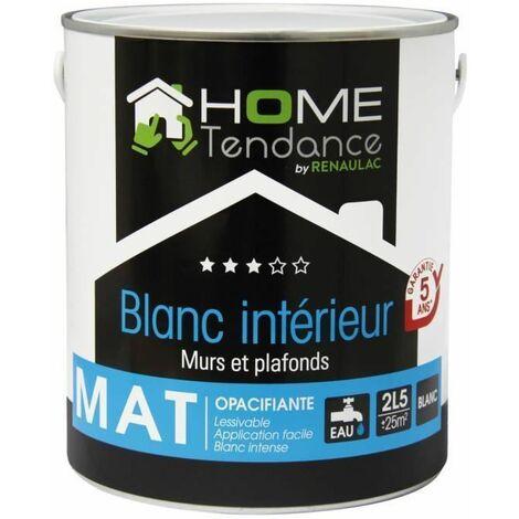 Peinture murale 2,5L blanc mat - lessivable - HOME TENDANCE by Renaulac