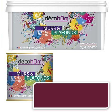 Peinture Murale monocouche couleur Bordeaux 0,5Litre SATIN