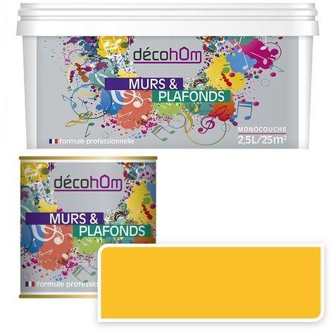 Peinture Murale monocouche couleur Jaune 0,5Litre MAT