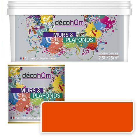 Peinture Murale monocouche couleur Orange 0,5Litre SATIN