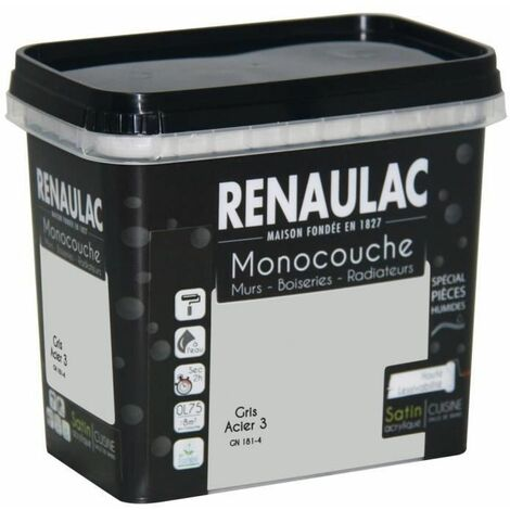 Peinture murale monocouche spéciale pieces humides 0,75 L gris acier satin Murs / Boiseries / Radiateurs - RENAULAC