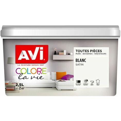 Peinture Murale Toutes Pièces, Satin, Blanc 2,5L Avi