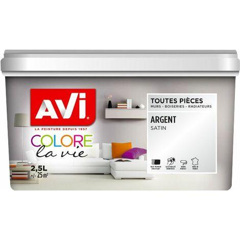 Peinture Murale Toutes Pièces, Satin, Argent 2,5L Avi