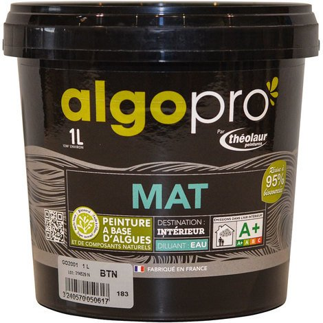 Peinture naturelle bio-sourcée à base d'huile végétale et d'algues pour murs et plafonds : Algo Pro mat