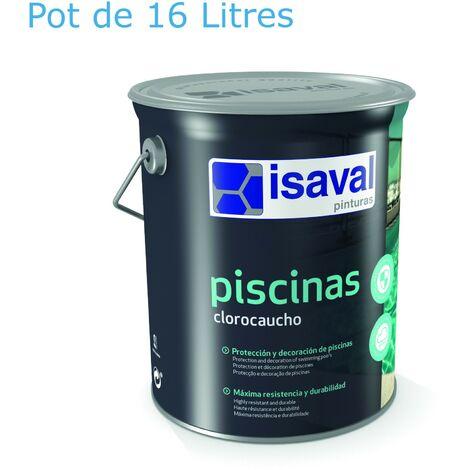 Peinture Piscine Caoutchouc Chloré - 16 L Blanc + 1 manchon spécial sol offert - Isaval