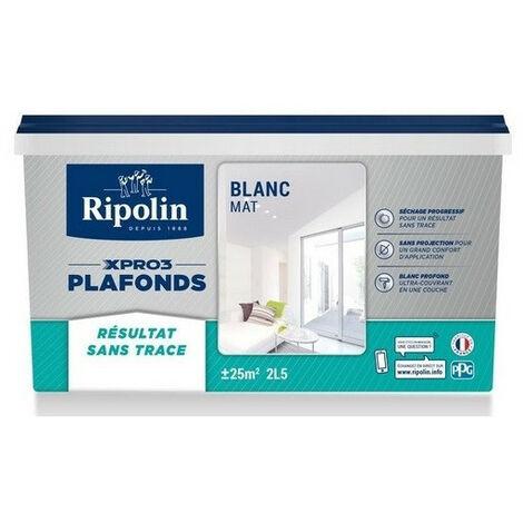 Peinture plafond sans trace mat 2,5L Xpro3 RIPOLIN (acrylique) - Description : Acrylique