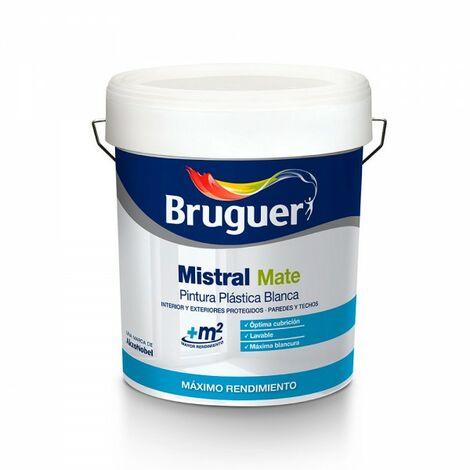 Peinture plastique blanche mat mistral 15 litres. bruguer pour interieur et exterieur