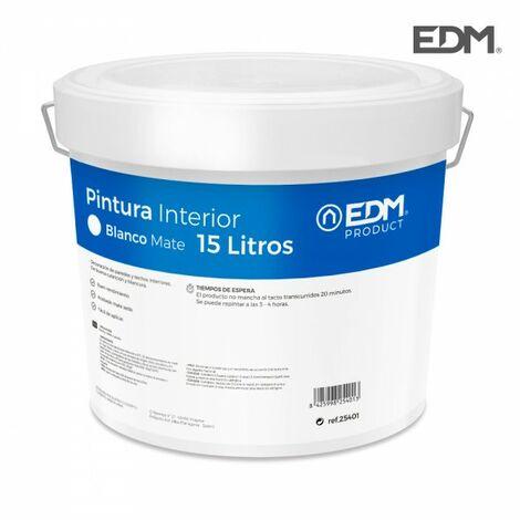 Peinture plastique mat interieur blanc 15l edm.
