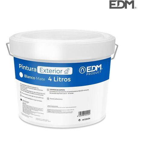 Peinture Plastique Mate Intérieur / Extérieur Blanc 4L EDM
