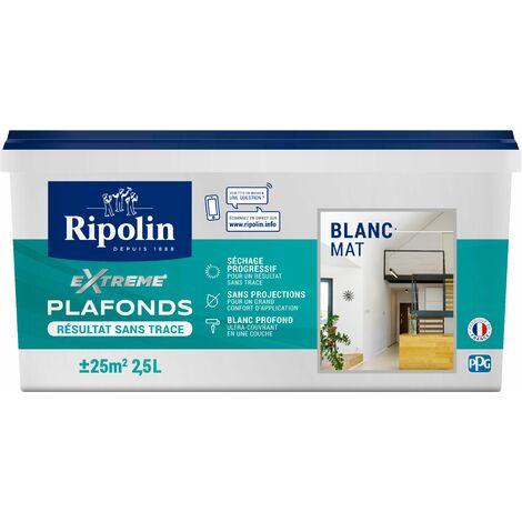 Peinture pour Plafonds spéciale Grande Pièce, Mat, Blanc 2,5L Ripolin - Blanc