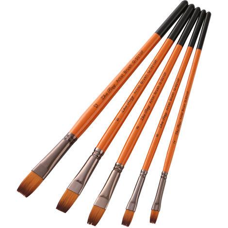 Peinture professionnelle Pinceaux Artiste Paintbrush Nylon cheveux poignee en bois de l'acrylique Huile Aquarelle Gouache Nail Art Peinture visage Artisanat, Astuce plat
