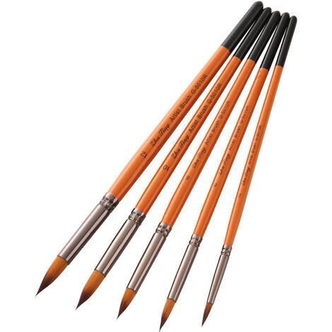 Peinture professionnelle Pinceaux Artiste Paintbrush Nylon cheveux poignee en bois de l'acrylique Huile Aquarelle Gouache Nail Art Visage Peinture Artisanat, Round Tip