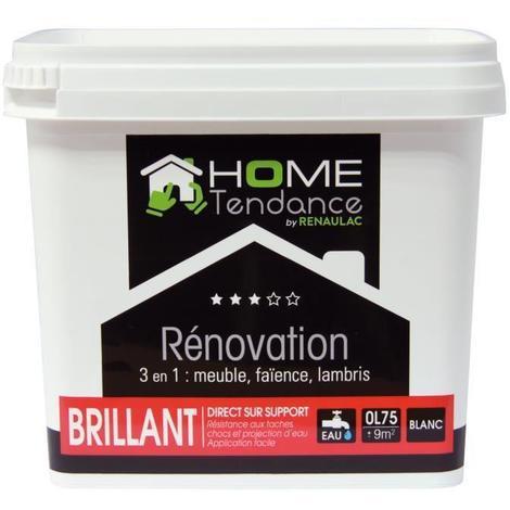 Peinture rénovation multi-supports 3 en 1 0.75 L blanc brillant - Meuble / Carrelage / Lambris - HOME TENDANCE by Renaulac