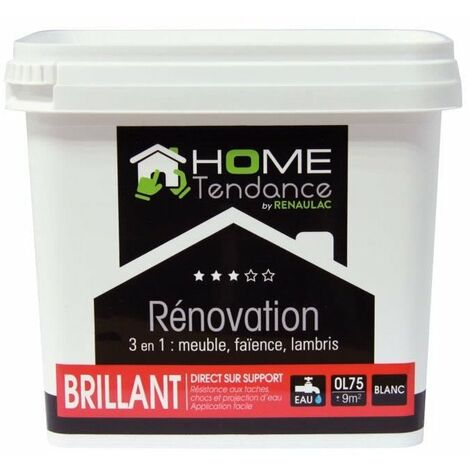 Peinture rénovation multi-supports 3 en 1 0,75 L blanc brillant - Meuble / Carrelage / Lambris - HOME TENDANCE by Renaulac