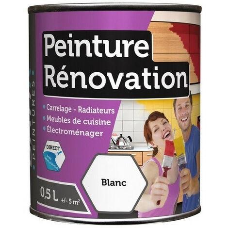 Peinture rénovation satin 0,5L: carrelage, meubles, bois, PVC, radiateur, électroménager, ... - plusieurs modèles disponibles