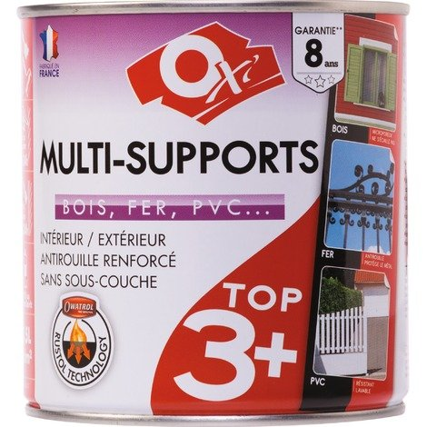 Peinture satinée multi-supports TOP3 Oxi - Gris anthracite - 0,5 l