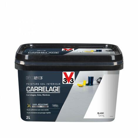 Peinture sol intérieur Carrelage décolab® V33, blanc, 2 l