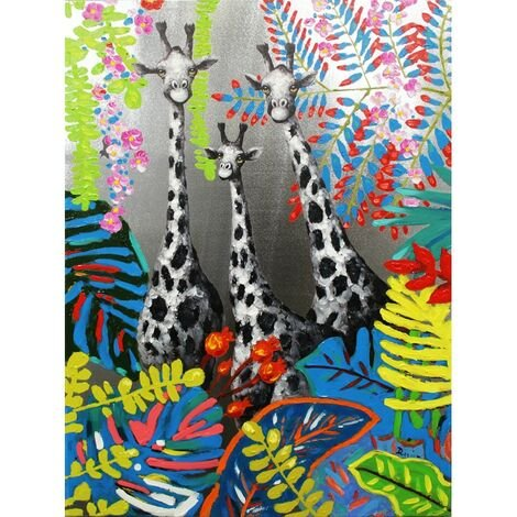 Peinture sur toile girafe - SAVANE - Multicolore